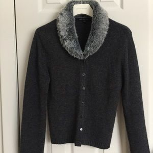 Cardigan With Removable Fur Collar